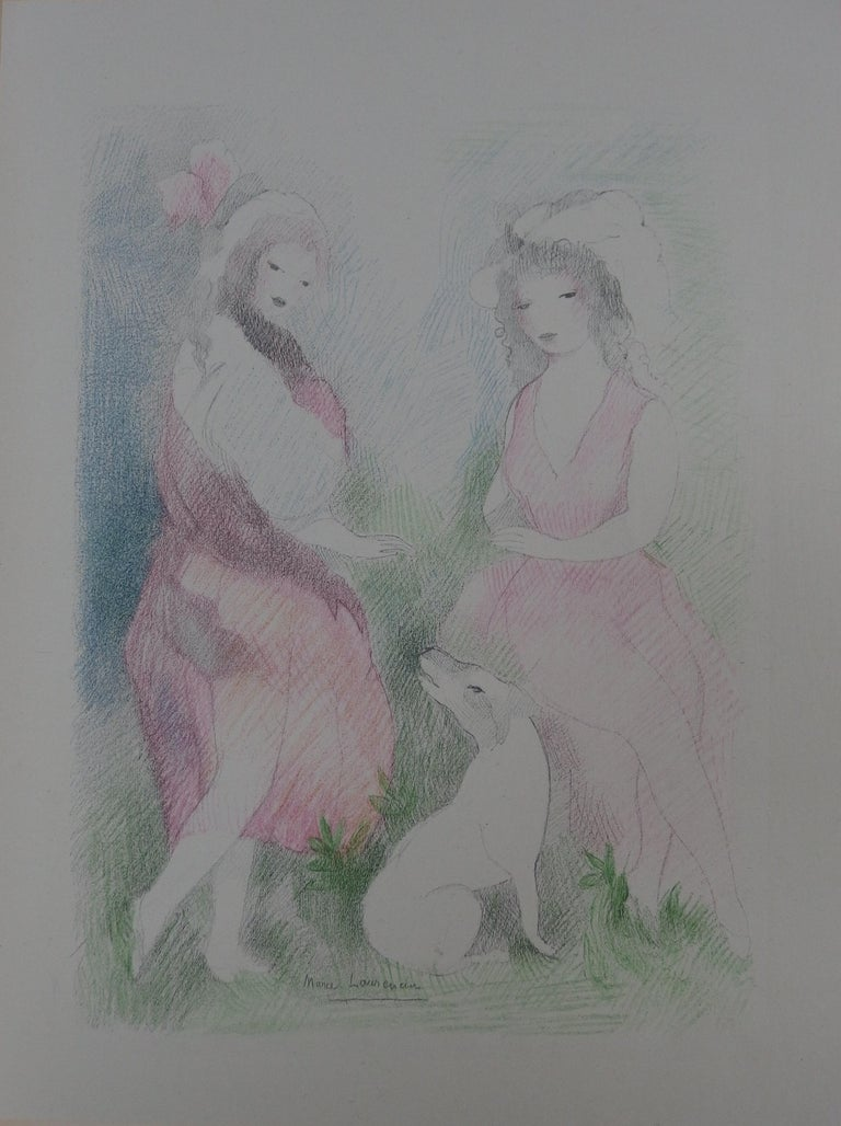 Marie Laurencin Figurative Print - Two Girls with a Dog - Stone Lithograph - Mourlot, 1928