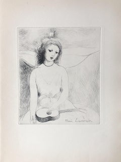 Young Girl With a Guitar - Original Etching Signed in The Plate