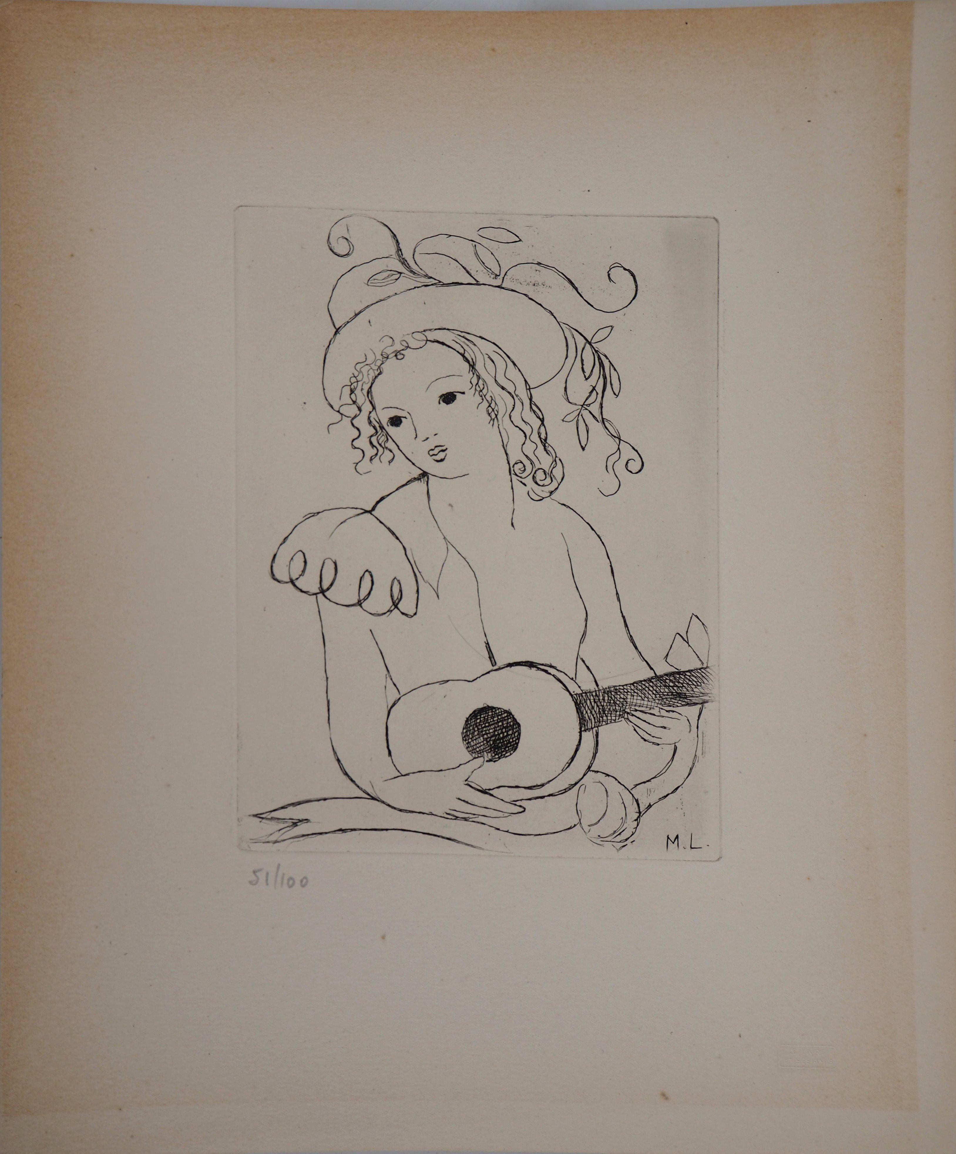 Young Girl with Guitar - Original etching, 1945