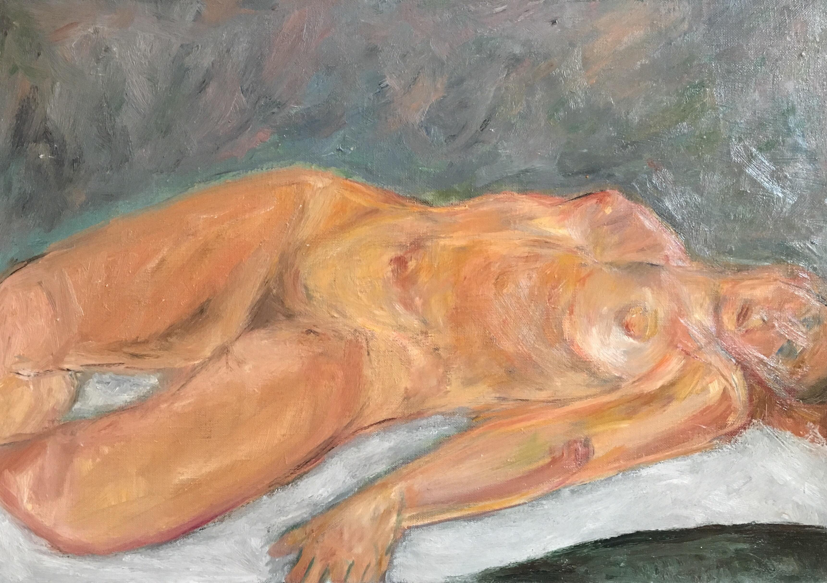 Impressionist Female Nude, Classic Oil Painting