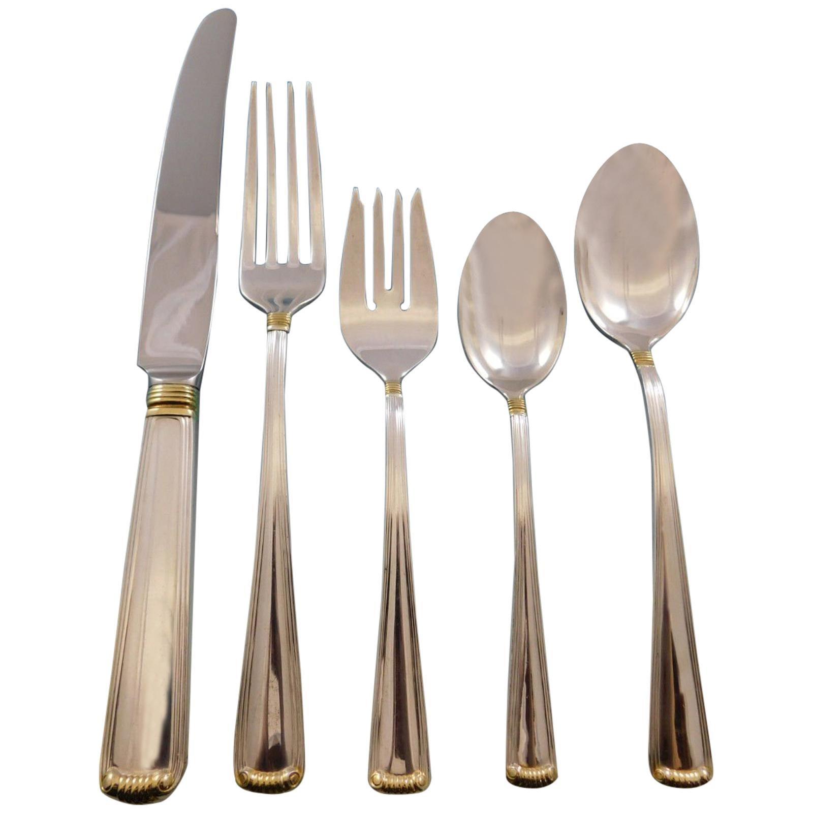 Marie Louise Gold Blackinton Sterling Silver Flatware Set Service 45 Pcs Dinner