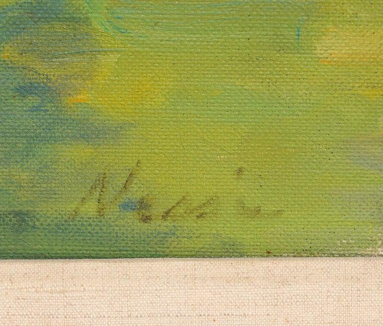 At The Park Monceau Paris - Brown Landscape Painting by marie lucie NESSI