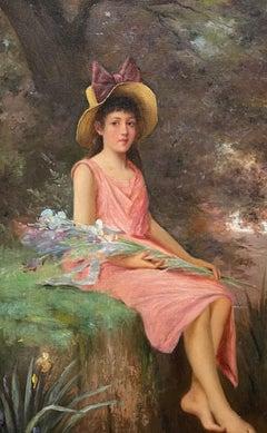 Antique Impressionist Girl in Pink Dress w/ Floral Hat Reclining in Landscape