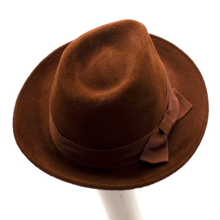 Marie Mercie Brown Felt Hat  In New Condition For Sale In London, GB
