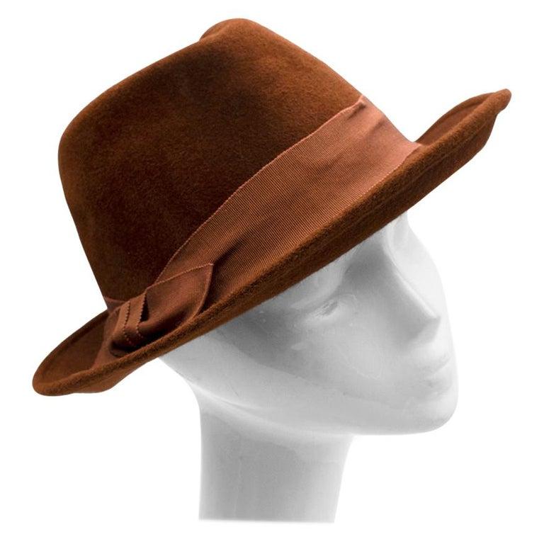 Marie Mercie Brown Felt Hat  For Sale