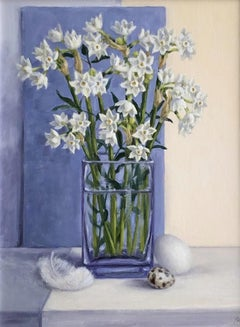 Marie Robinson, Paper Whites , Original Still Life Painting, Affordable Art
