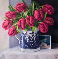 Marie Robinson, Parrot Tulips, Original Canvas Oil Painting, Floral Still Life