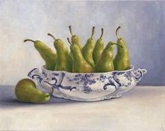 Marie Robinson, Pear Overboard, Still Life Art, Original Painting