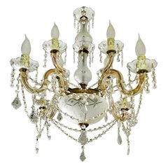 Marie Therese 8-Light Crystal Chandelier with Cut Glass Bowl, Drops and Swags