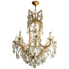 Marie Therese Crystal Chandelier Mid-20th Century Nine-Light Pendant from Italy