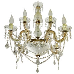 Maria Theresa 8-Leuchter-Kristall-Kronleuchter mit Geschliffenen Glas-Tropfen-Schalen und Girlanden