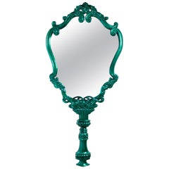 Marie Thérèse Mirror with Silver Leaf and Green Translucent