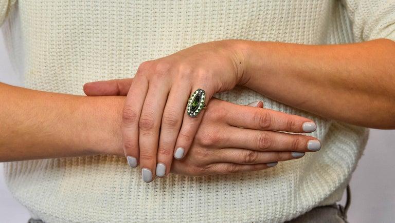 Marie Zimmerman Arts & Crafts Tourmaline Diamond Enamel 14 Karat Green Gold Ring For Sale 4
