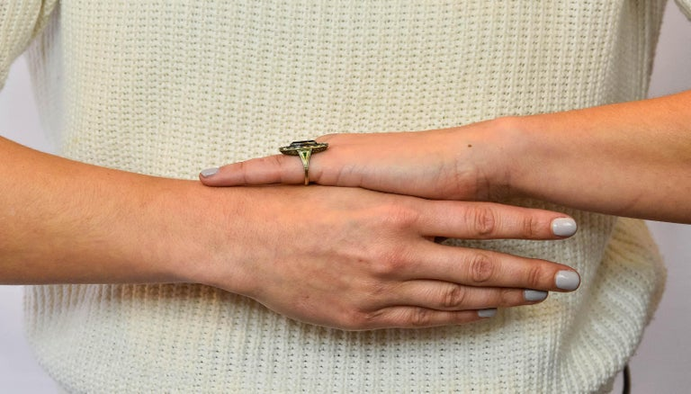 Marie Zimmerman Arts & Crafts Tourmaline Diamond Enamel 14 Karat Green Gold Ring For Sale 5