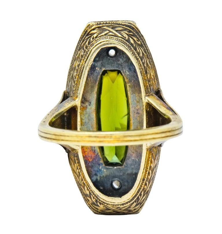 Rose Cut Marie Zimmerman Arts & Crafts Tourmaline Diamond Enamel 14 Karat Green Gold Ring For Sale