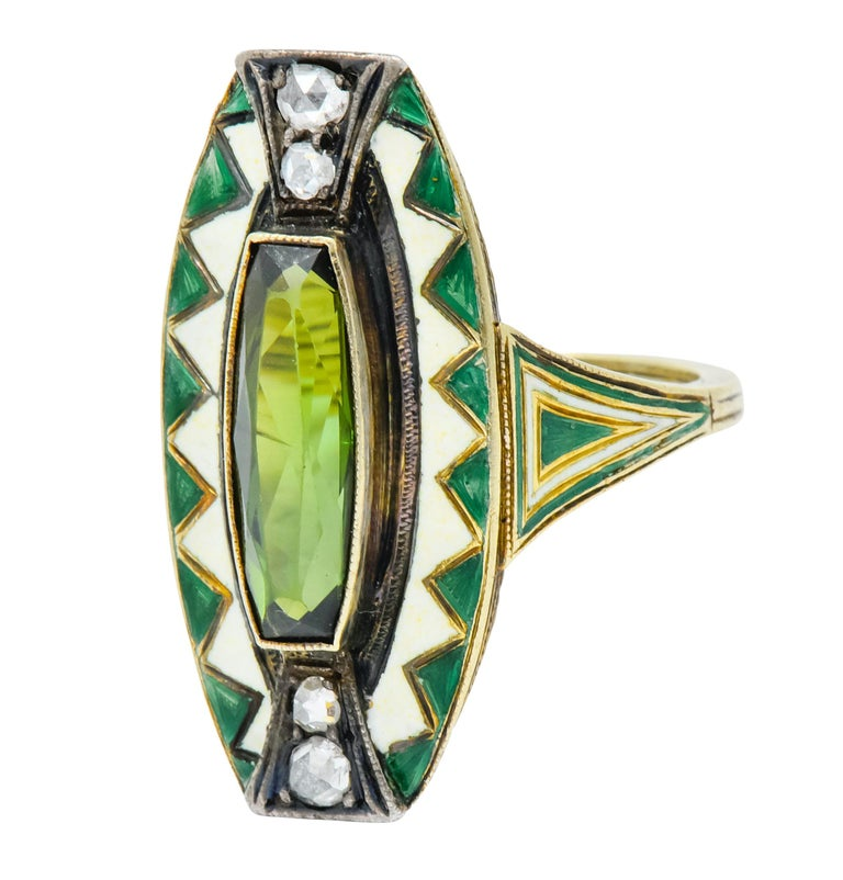 Women's or Men's Marie Zimmerman Arts & Crafts Tourmaline Diamond Enamel 14 Karat Green Gold Ring For Sale
