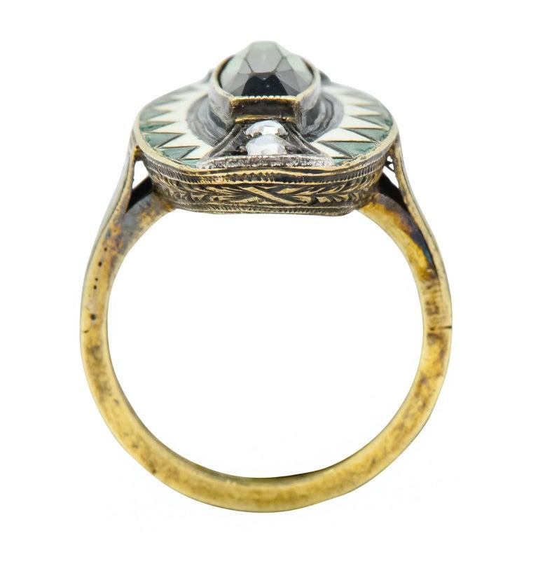 Marie Zimmerman Arts & Crafts Tourmaline Diamond Enamel 14 Karat Green Gold Ring For Sale 1