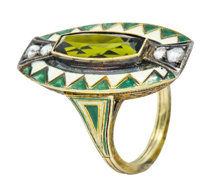 Marie Zimmerman Arts & Crafts Tourmaline Diamond Enamel 14 Karat Green Gold Ring For Sale 3