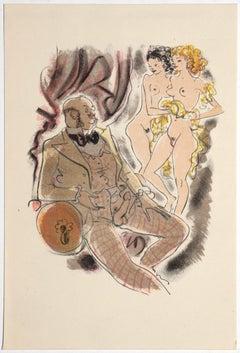 Erotic Scene - Original Hand-colored Lithograph attire. to Mariette Lydis - 1939