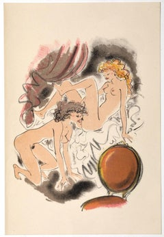 Erotic Scene - Original Hand-colored Lithograph attr. to Mariette Lydis - 1939