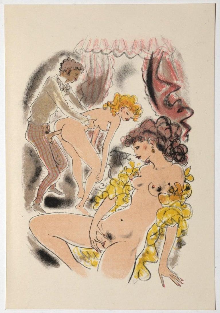 Mariette Lydis Figurative Print - Erotic Scene - Original Hand-colored Lithograph attributed to M. Lydis - 1939