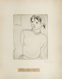 Portrait of Andrée D. - Original Etching by M. Lydis - 1927
