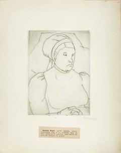 Portrait of Antonia Scieri - Original Etching by M. Lydis - 1927