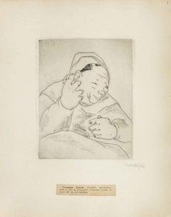 Portrait of Germaine Lenoir - Original Etching by M. Lydis - 1927