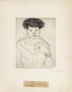 Portrait of Joséphine Bonnet- Original Etching by M. Lydis - 1927