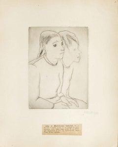 Portrait of Julie et Marie-Louise Caduchet - Original Etching by M. Lydis - 1927