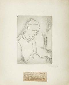 Portrait of Marie-Anne de N. - Original Etching by M. Lydis - 1927