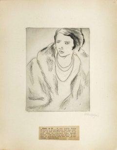 Portrait of the Aimée de B. - Original Etching by M. Lydis - 1927