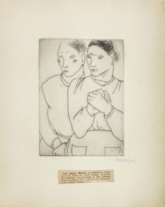 Portrait of the Sisters Michel - Original Etching by M. Lydis - 1927