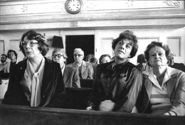 Mariette Pathy Allen Black and White Photograph - Maxine, Ariadne, and Virginia at the Unitarian Church, Provincetown, MA