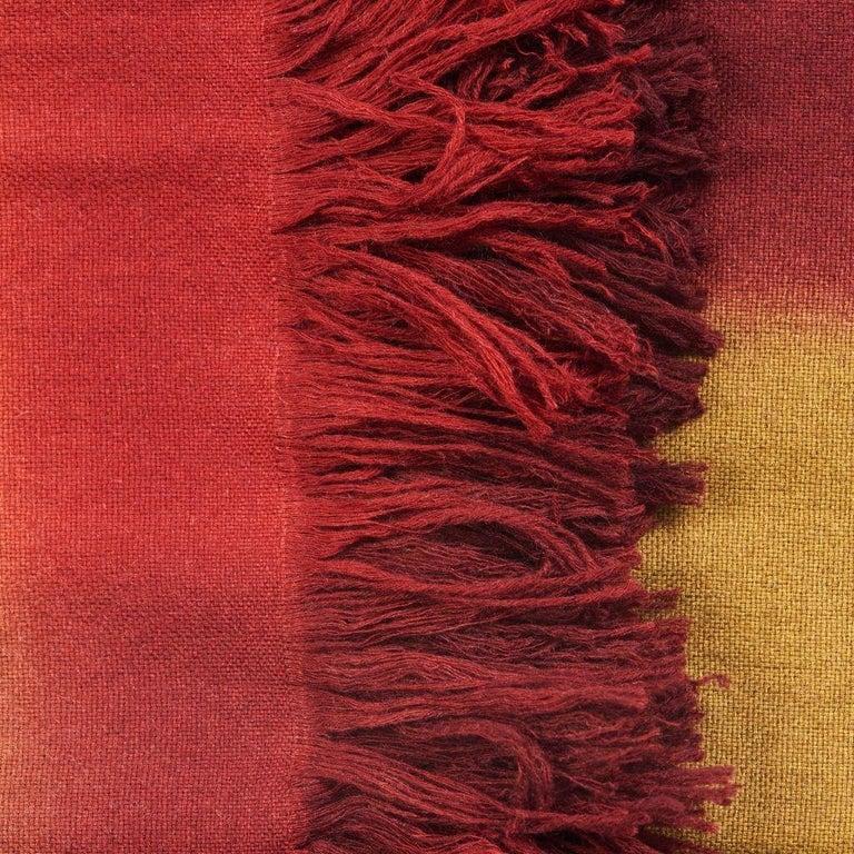 Marigold Handloom Merino Throw / Blanket in Ochre Musturd Red Tones with Fringes For Sale 2
