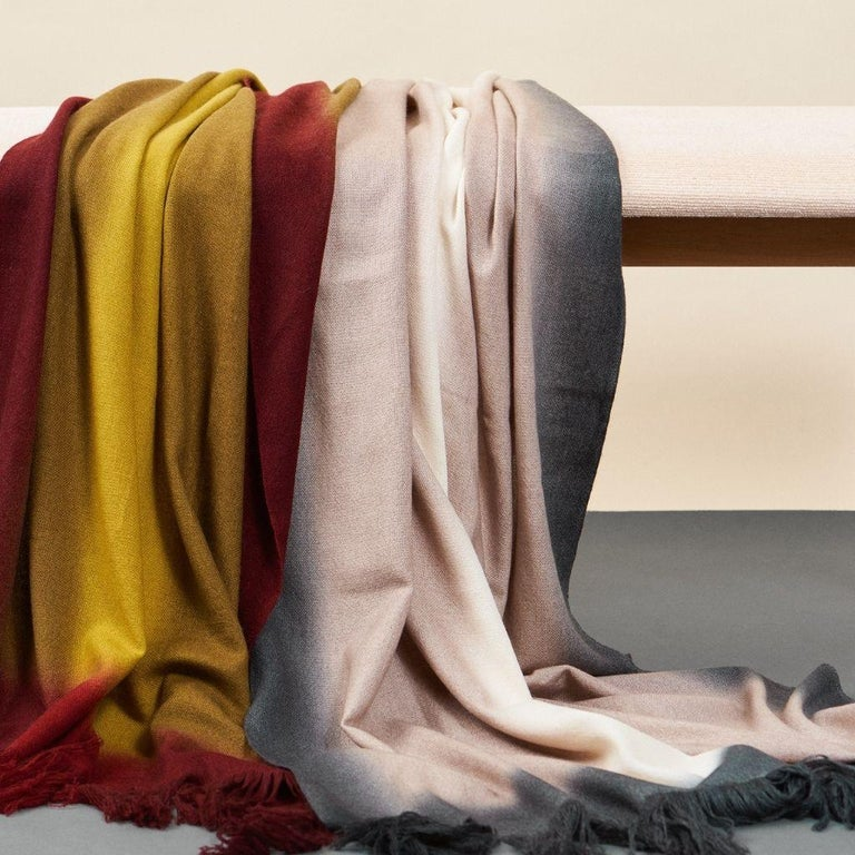 Marigold Handloom Merino Throw / Blanket in Ochre Musturd Red Tones with Fringes For Sale 3