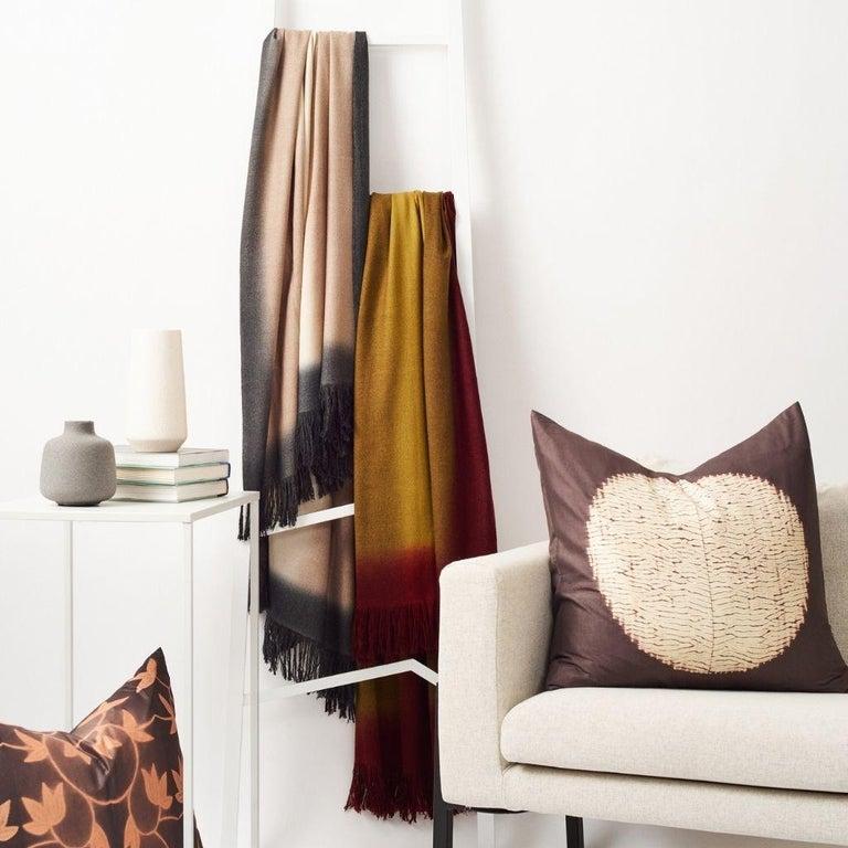 Marigold Handloom Merino Throw / Blanket in Ochre Musturd Red Tones with Fringes For Sale 4