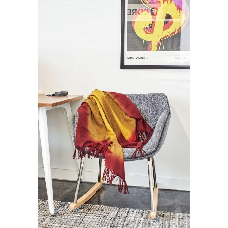 Custom design by Studio Variously, Marigold throw / blanket is handwoven by master weavers in Nepal and dip dyed entirely with eco-friendly certified Swiss dyes. A sustainable design brand based out of Michigan, Studio Variously exclusively