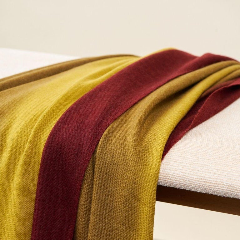 Modern Marigold Handloom Merino Throw / Blanket in Ochre Musturd Red Tones with Fringes For Sale