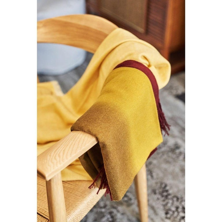 Nepalese Marigold Handloom Merino Throw / Blanket in Ochre Musturd Red Tones with Fringes For Sale
