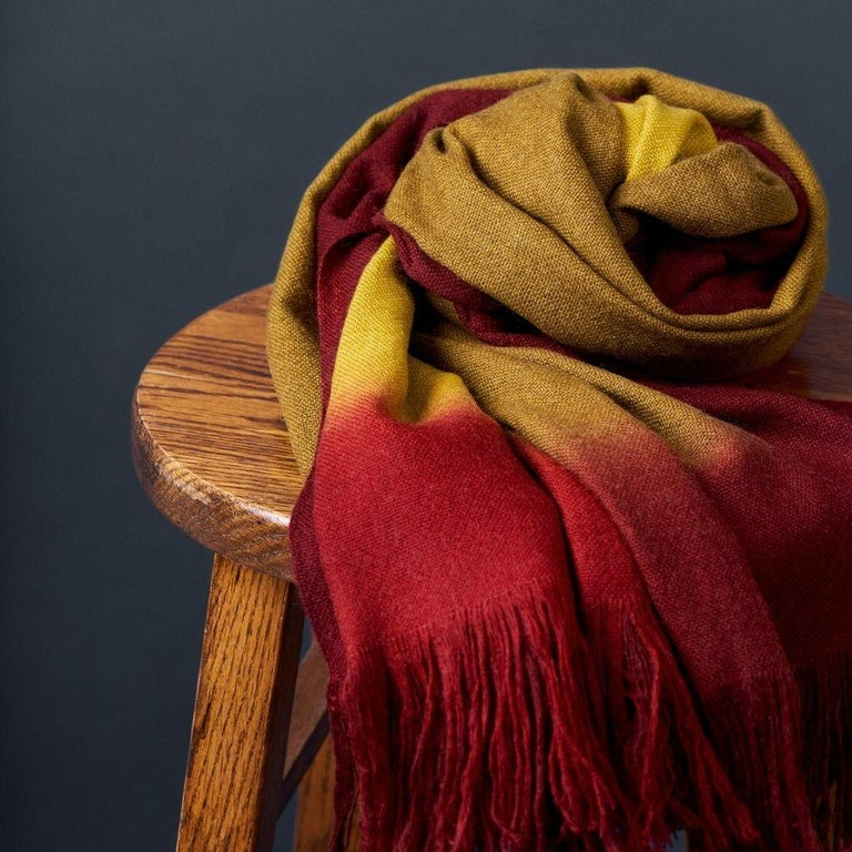 Hand-Woven Marigold Handloom Merino Throw / Blanket in Ochre Musturd Red Tones with Fringes For Sale