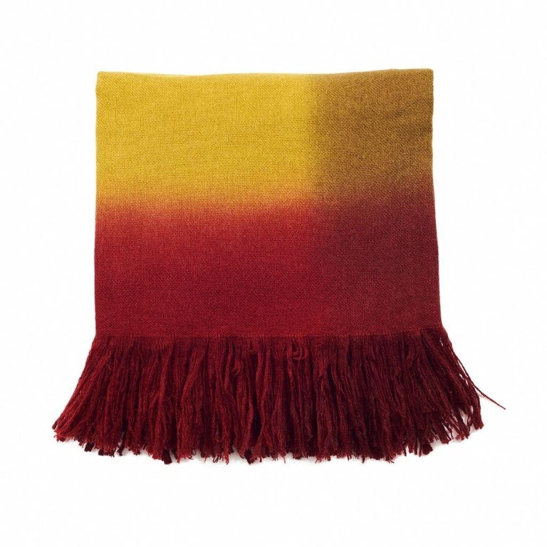 Marigold Handloom Merino Throw / Blanket in Ochre Musturd Red Tones with Fringes In New Condition For Sale In Bloomfield Hills, MI