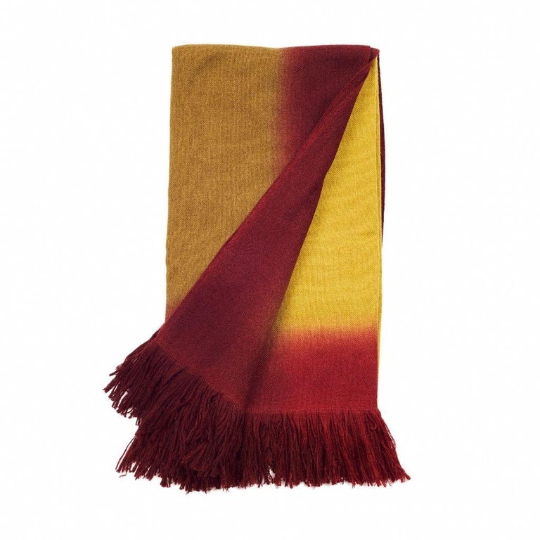 Contemporary Marigold Handloom Merino Throw / Blanket in Ochre Musturd Red Tones with Fringes For Sale