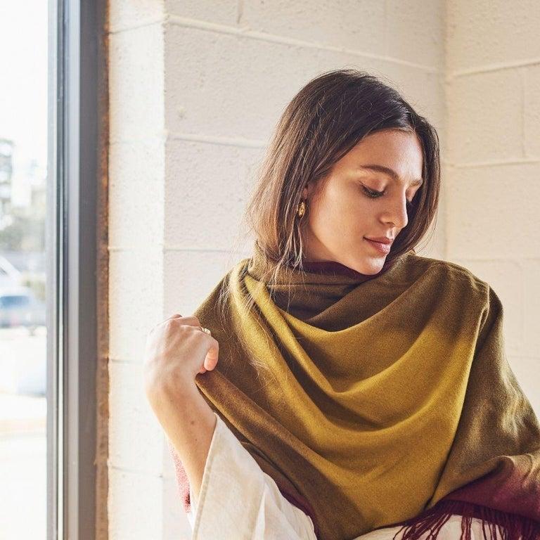 Yarn Marigold Handloom Merino Throw / Blanket in Ochre Musturd Red Tones with Fringes For Sale
