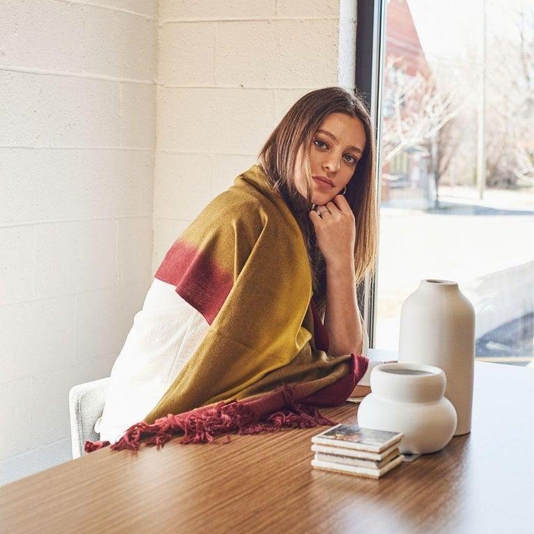 Marigold Handloom Merino Throw / Blanket in Ochre Musturd Red Tones with Fringes For Sale 1