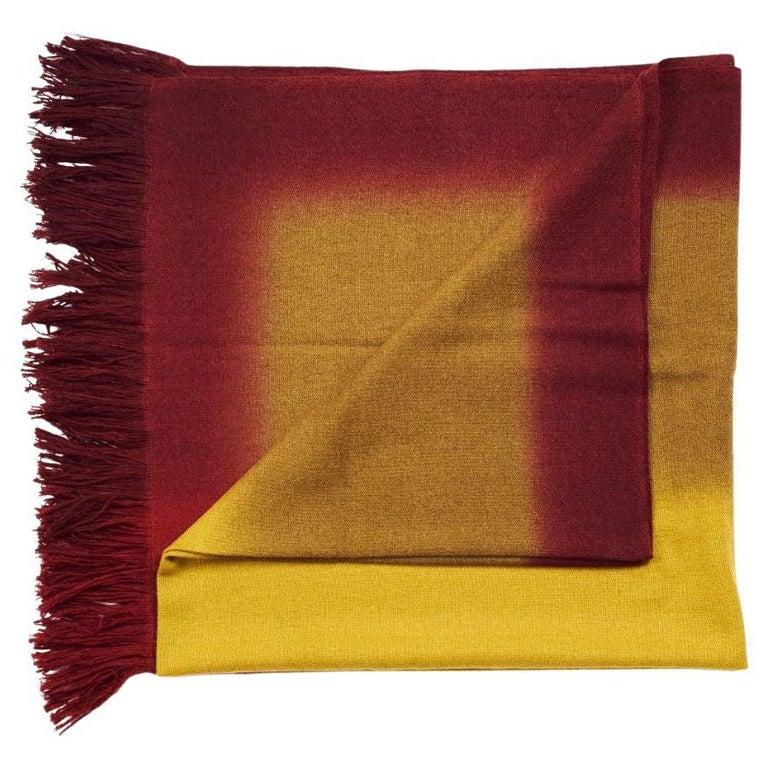 Marigold Handloom Merino Throw / Blanket in Ochre Musturd Red Tones with Fringes For Sale