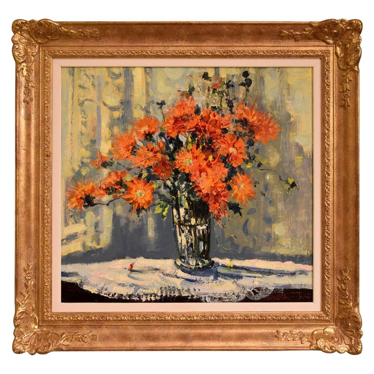 """Marigolds"" Oil painting by Geoffrey Chatten For Sale"