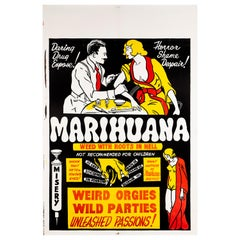 'Marihuana' Original Vintage US One Sheet Movie Poster, 1930s