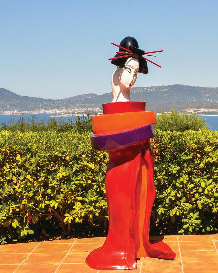 Mariko's Gueishas are unique monumental contemporary sculptures made of resin and reinforced with an inside metallic structure, finished with a bi-component urethane paint, extremely resistant to UV exposure and outside weather.  Mariko grew up in
