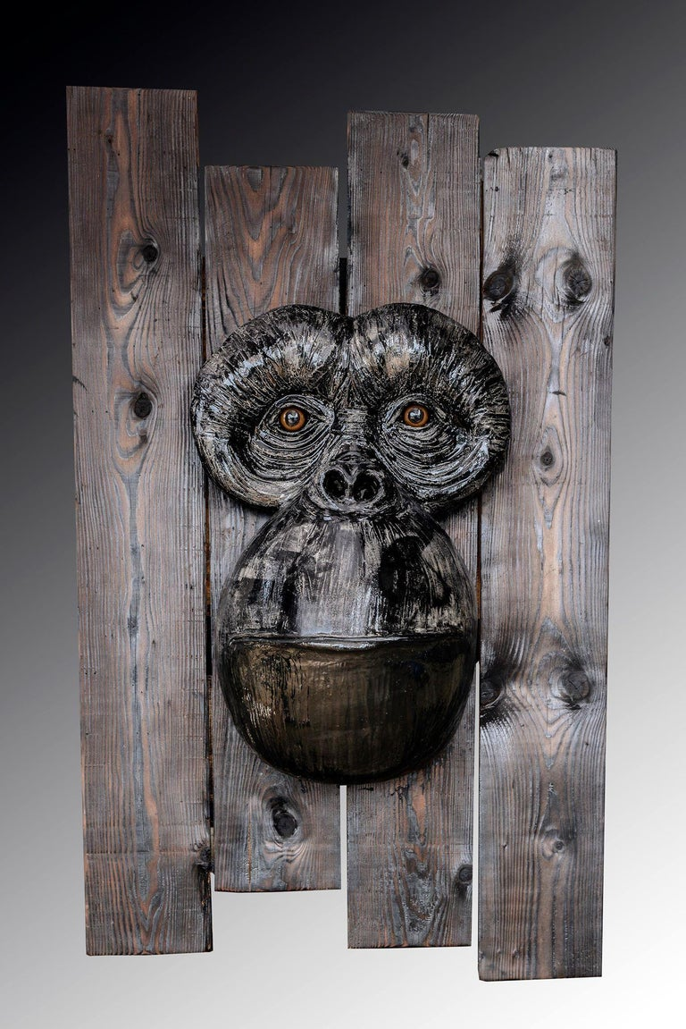 Monkey's Face - Neo-Expressionist Sculpture by Mariko